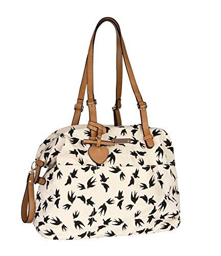 SIX - Damen Handtasche, Shopper, Vögel, Schwalben, verstellbar, beige (463-733) (Designer Schwarze Inspiriert Handtasche Neue)