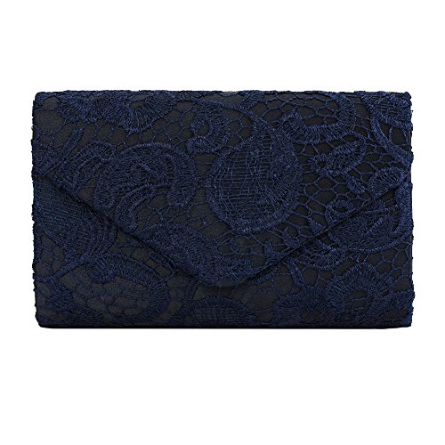 Clorislove Ladies Satin Lace Envelope Clutch Bag Evening Bridal Wedding Handbag Prom Bag (Navy Blue)