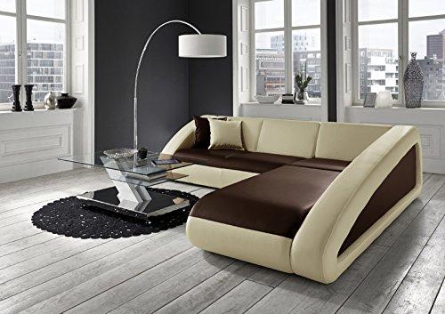 SAM® Sofa Garnitur Ecksofa in braun / creme / creme CIAO 270 x 250 cm Ottomane rechts Couch exklusive Design Couchgsrnitur pflegeleicht