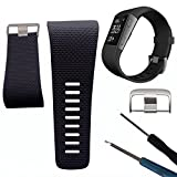 Yeshi Soft Silicone Replacement Watch Band Strap with Buckle Tool for Fitbit Surge size Large (Black)