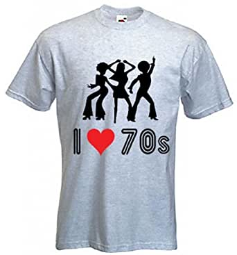 I Love The 70s T-Shirt (choice of colour) (Small, Grey)