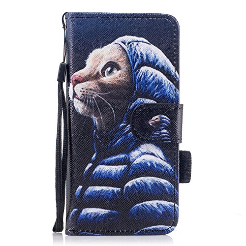Custodia iPhone 7 / iPhone 8 Cover ,COZY HUT Flip Caso in Pelle Premium Portafoglio Custodia per iPhone 7 / iPhone 8, Retro Animali di cartone animato Modello Design Con Cinturino da Polso Magnetico S Giacca giù gatto