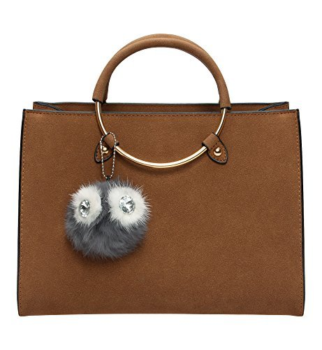 1a02637f06 Tom Clovers Womens Owl Fur Ball Pom Pom Round Ring Matte Cross Body Bag  Shoulder Bag