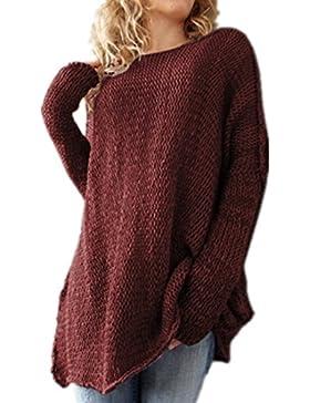 ASCHOEN - Jerséi - Básico - Cuello redondo - Manga Larga - para mujer