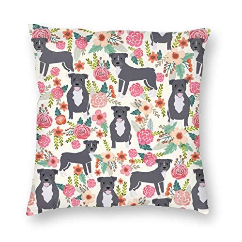 magic ship Pitbull Terrier Pitbulls Florals Blumen niedlichen Hunde Rettungshund aus weicher Baumwolle Leinen Kissenbezug Kissenbezüge Dekokissen Dekor Kissenbezug Home Decor 18 X 18 Zoll
