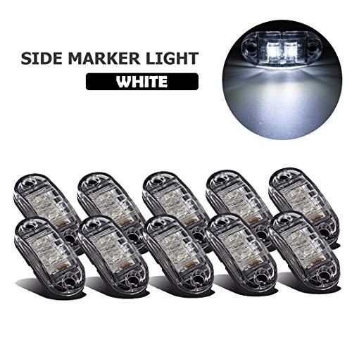 VIGORFLYRUN PARTS LTD 10x LED Seitenmarkierungsleuchten Markierungsleuchten 12V 24V Wasserdicht Standlicht für Auto LKW Anhänger Busse Wohnwagen SUV Van - Weiß -