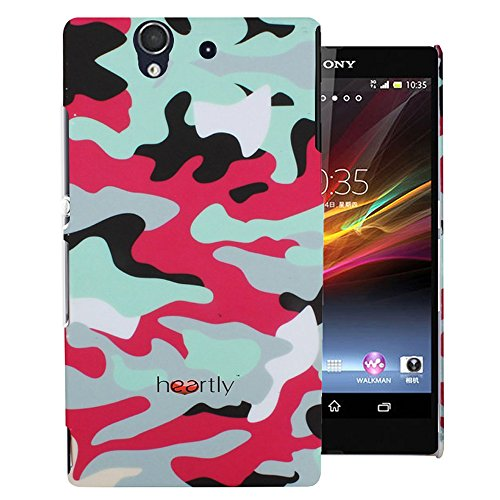 Heartly Army Style Retro Color Armor Hybrid Hard Bumper Back Case Cover For Sony Xperia Z L36H L36I - Hot Red  available at amazon for Rs.249