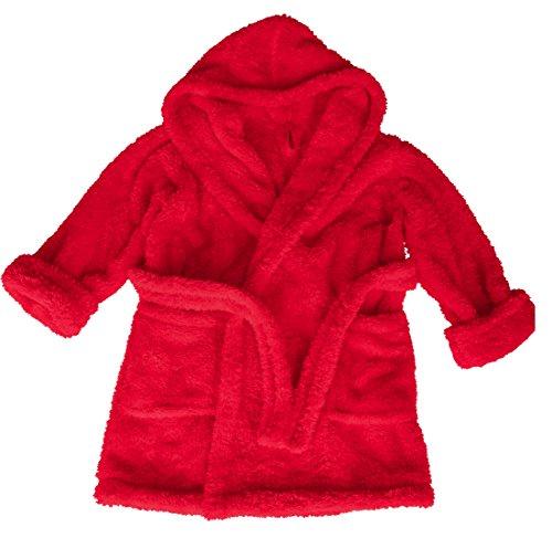 Produktbild m.Lyra Kinder Kuscheliger Jungen und Mädchen Bademantel mit Kapuze Rot (152)