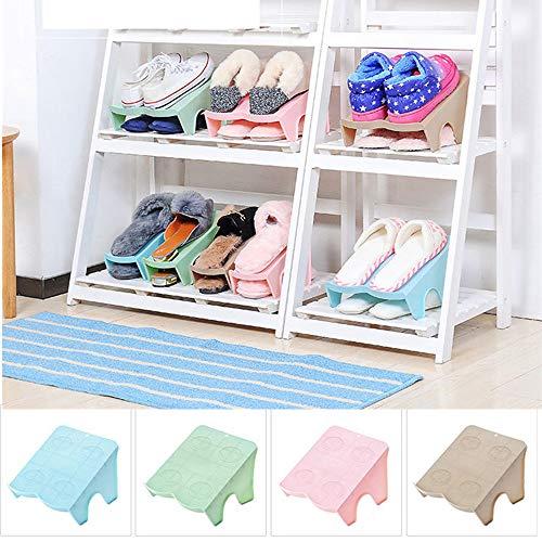 Schrank Organisatoren Schuhe (PKWEHKG Doppel-Schuh-Organizer Moderne Schuhe Rack Schuh Lagerung Reinigung Schrank Schuhe Organisatoren, die Farbe Wird von Zufällig geliefert)