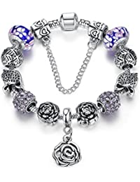 19 cm Pink Murano and CZ beads Mum Freind gift bracelets with gift box will fit other Pandora and Biagi charms 452 obgVC0Xp