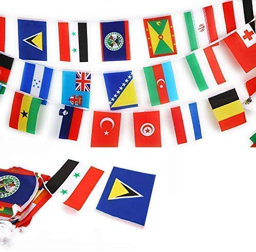 Gwill 82 Fuß 8,2 '' x 5,5 '' International String Flags Banner 100 Länder Flaggen Flaggen der Welt Wimpel Banner für Olympia Grand Opening Sports Bars Clubs Party-Events Dekorationen