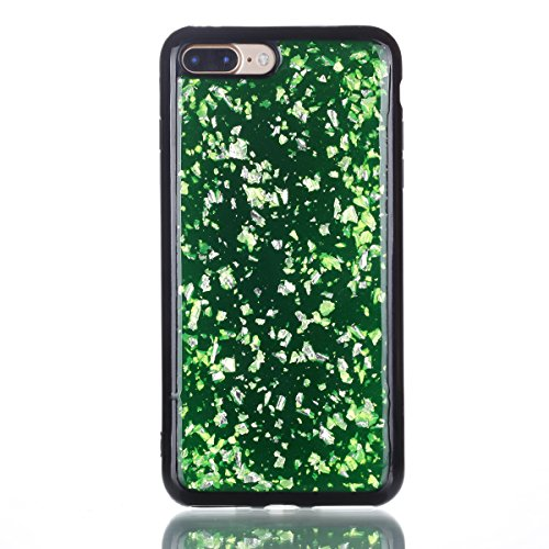 Coque pour iPhone 8 Plus,iPhone 7 Plus Silicone Housse Etui,EUWLY Ultra Mince TPU Silicone Slim Housse Etui Case Soft Gel Cover Skin,Ultra Slim Flexible Soft Gel Protective Case TPU Doux Housse Etui d Feuille D'or,Vert