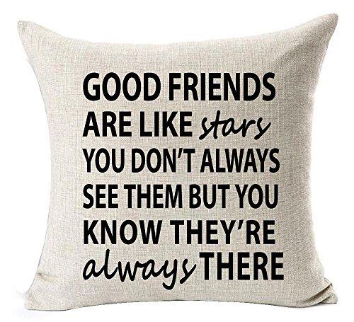 DCOCY Funny Warm Sweet Sprüche Good Friends Are Like Stars You Nicht Immer Sehen, aber Sie Wissen Sie Immer es Baumwolle Leinen Überwurf Kissenbezug Home Dekorative 18× 45,7cm