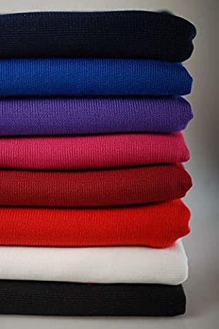 Neotrims Polyester Stretch Knit Rib Fabric to Trim Garments, Waistbands, Cuffs and Welts or for Outerwear. Light Weight Jersey Material for Apparel, Resilient, Sports Look, Light Sheen: Black, Royal Blue, Navy, Purple, White, Wine, Cerise and Red Colours - Black (100Cms) - 1