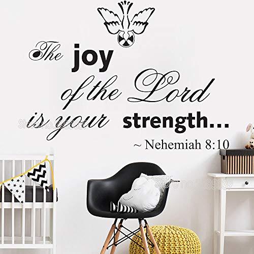 yaoxingfu Der Job des Herrn ist Ihre Stärke-Nehemia 8:10 Vinyl Wall Art Schriftzug Wandaufkleber inspirierende ZitateWandtattoosL57cm x 42cm