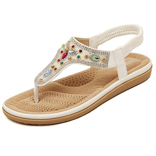 XIAOLIN Couleur Strass Clip Toe Sandales Femme Été Plat Bottom Beach Shoes (Taille facultative)