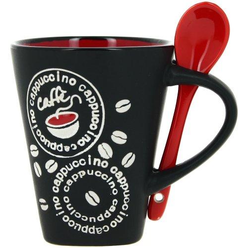 Promobo Mug à café avec cuillère à café Rouge/noir/motif