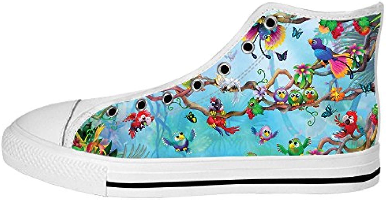 Custom Uccello e foresta Men's Canvas scarpe I lacci delle scarpe in Alto sopra le scarpe da ginnastica di scarpe... | Modalità moderna  | Scolaro/Ragazze Scarpa