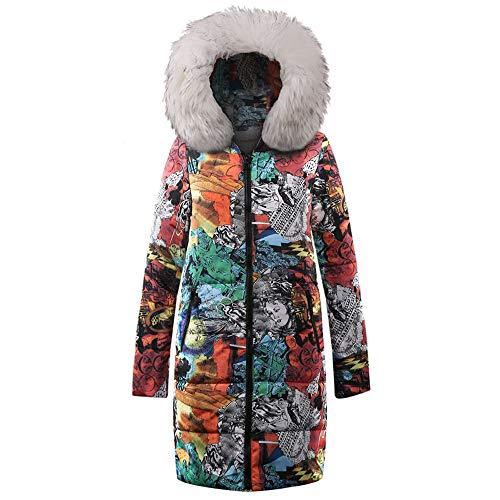 NPRADLA 2018 Mantel Damen Herbst Winter Elegant Festlich Lange Daunen Baumwolle Frauen Parka Kapuzenmantel Steppjacke Outwear(Weiß,S/34)