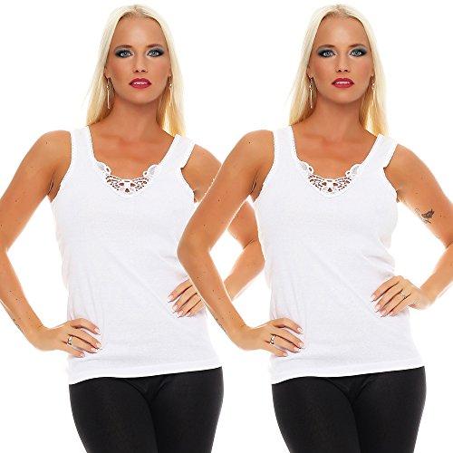2er Pack Damen Unterwäsche mit Spitze (Unterhemd, Träger-Top, Shirt) Nr. 430 Weiß-Weiß