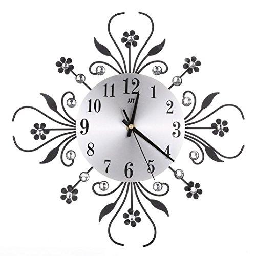 Zarupeng Retro 3D Wanduhr, Lautlos Uhr Imitation Diamanten & Blume, für die Küche,Home Office, Wohnzimmer und Schlafzimmer (One Size, Schwarz)