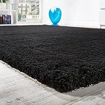 Alfombra Shaggy Micropoliéster Salón Elegante Resistente Pelo Largo En Negro, Grösse:10x10 cm