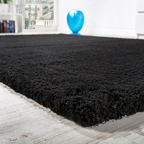 Paco Home Shaggy Teppich Micro Polyester Wohnzimmer Teppiche Elegant Hochflor Schwarz, Grösse:Ø 160 cm Rund