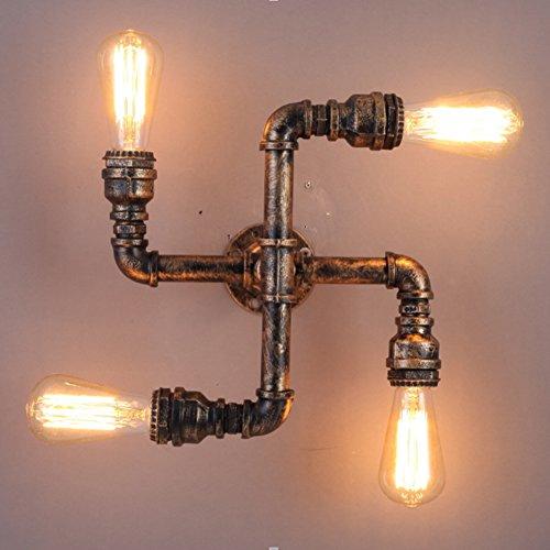 Tubature dell'acqua del riparo della parete, SUN RUN metallo 4 Capo Vintage Wall Light Industrial (4 Letto A Baldacchino)