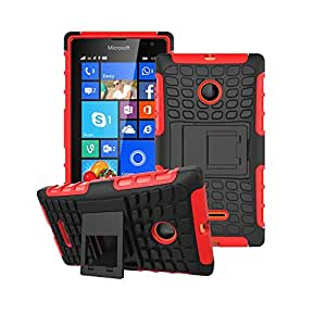 Heartly Flip Kick Stand Spider Hard Dual Rugged Armor Hybrid Bumper Back Case Cover For Microsoft Nokia Lumia 435 Dual SIM - Hot Red