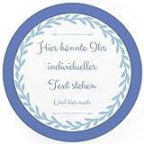 24 PERSONALISIERTE runde Etiketten mit Motiv: Schlichtes Blau - Ihre Aufkleber online selbst gestaltet, ganz individuell