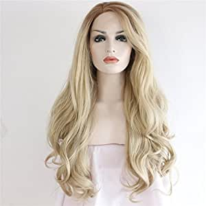 Ebingoo Handmade Two Tone Light Brown Blonde Synthetic Front Wigs Glueless Futura Heat Resistant Body Wave Hand Tied