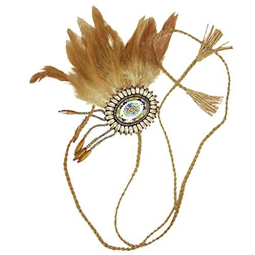 band Indisch Kopfschmuck - Boho Hippie Haarband Haar Zubehör für Frau Mädchen - Braun (Kind Indische Kostüme)