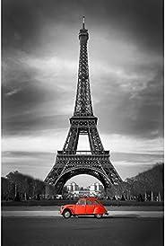 Pitaara Box Eiffel Tower & Old Red Car Paris Canvas Painting Mdf Frame 14 X 21.1