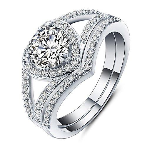 2-in-1 Mode Dame Zirkonia Ring Kreative Set Ring Zubehör Verlobungsring YunYoud memoire Ring Silber zirkonia einzelstein Damen edelstahlringe