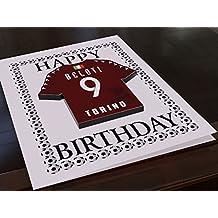 Biglietto di auguri di compleanno a tema Serie A calcio italiano, con magnete da frigo a forma di maglietta, personalizzabile, Torino F.C. Football Fridge Magnet Birthday Card, A5 Fridge Magnet Greeting Card