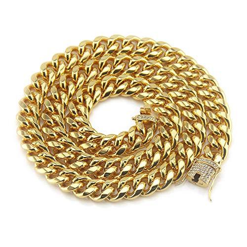 DUPFY 14MM Breite Männer Retro Kubanische Goldkette Hip-Hop Persönlichkeit Diamant Besetzte Halskette Gold30inch
