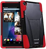 Fosmon Google Nexus 7 II FHD 2nd Gen 2013 (HYBO-V) Detachable Dual Layer Hybrid TPU + PC Protective Case Cover with Stand Function - Fosmon Retail Packaging (Red)