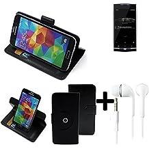 TOP SET: 360° Funda Smartphone para Uhans U100, negro + Auriculares | Función de stand Caso Monedero BookStyle mejor precio, mejor funcionamiento - K-S-Trade | Funda Universal Caso Monedero cubierta del tirón Monedero Monedero