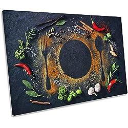 Canvas Geeks Mantel Individual para Pared con diseño de Especias alimentarias, Color Gris, 75cm Wide x 50cm High