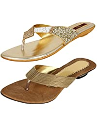 AUTHENTIC VOGUE Women's Combo Pack of Partywear Blonde Golden Flat Sandal (Combo Pack of 2)