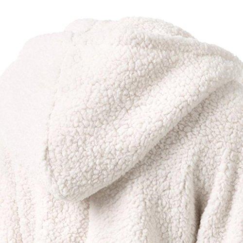 Maglione con cappuccio,Cappotto delle donne in inverno caldo in inverno Bianco