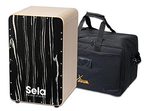 Sela SE 034A CaSela Cajon Makassar Set inkl. Tasche (herausnehmbares Snare System, austauschbare Spielfläche, massive abgerundete Ecken aus Ahorn, Clap Corner Sound, Gummifüße, inkl. Gigbag) (Cajon-drum-set)