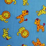 Nortex Mill Blau Polycotton Stoff mit Baby Zoo Tiere (Pro