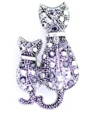 lizzyoftheflowers-Argent et Noir Deux chats Broche chat