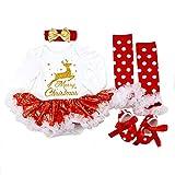 DecStore Baby Girls Mein erster Weihnachtskostüm Party Kleid Tutu Kleidung 4PCS Set(Goldener Hirsch L)