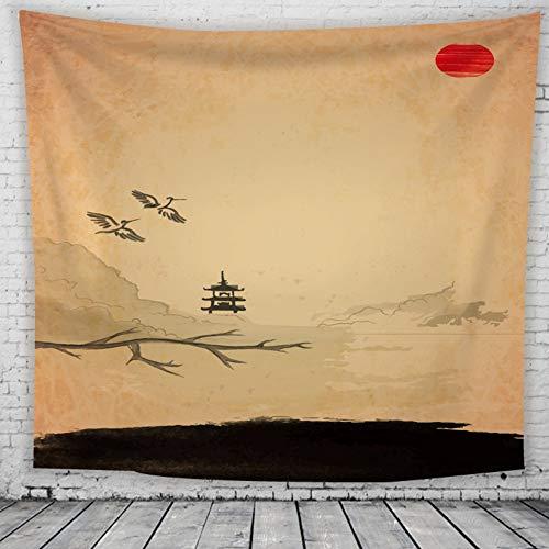 Tapestry Wall Hanging,Im Chinesischen Stil Landschaft Tuschemalerei Psychedelic Hippie Groß Dämmerung View Print Fabric Für Home Wohnzimmer An Der Wand Dekoration Strand Tapisserie, 150 X 130 Cm -