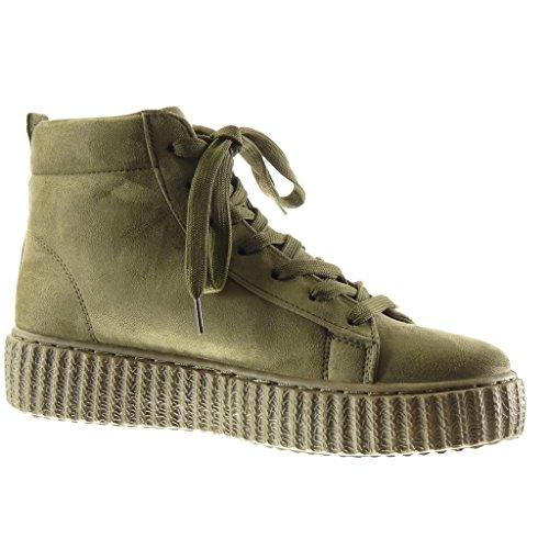 Angkorly - damen Schuhe Sneaker - Plateauschuhe - Hohe Keilabsatz high heel 4 CM Grüne