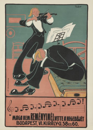 Vintage Art Nouveau ungherese C1910Mag nem remenyinel vette a hegedujet Budapest Riproduzione artistica formato