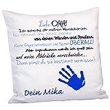 Kissen - Liebe Mama (blau) mit Handabdruck: Kuschelkissen als Geschenkidee zum Muttertag mit Name personalisiert - Dekokissen bedruckt für Mama auch als Geburtstagsgeschenk
