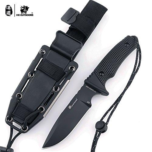HX OUTDOORS Premium Qualität Companion Messer,Camping Überlebensmesser Werkzeuge,Ergonomischer G10 Anti-Rutsch-Griff, Premium-Geschenk (D-171)